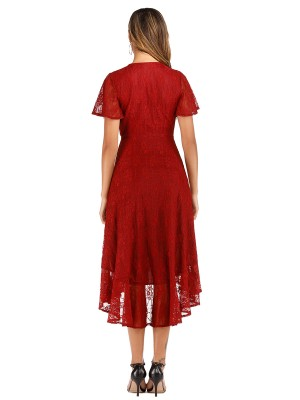 Lightweight Wine Red V Neck Lace Evening Dress Short Sleeve Free Time
