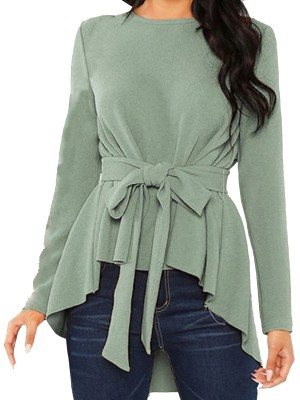 Flirting Green Full Sleeves Top Plain Dovetail Hem Feminine Fashion