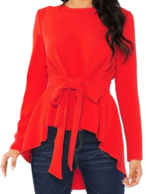 Comfy Red Swallowtail Hem Long Sleeves Shirt Classic Fashion