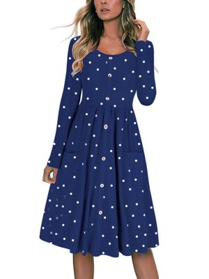 Premium Blue Side Pockets Midi Dress Front Button Womenswear