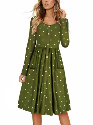 Loose Fit Army Green Full Sleeve Ruched Buttons Midi Dress Women Outfits