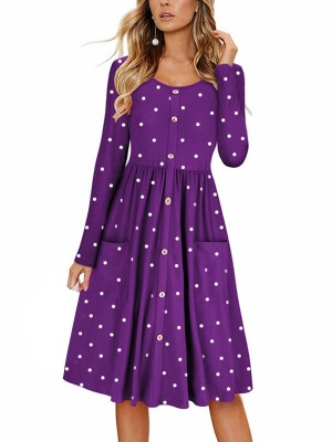 Functional Deep Purple Polka Dot Pockets Midi Dress Button Latest Trends