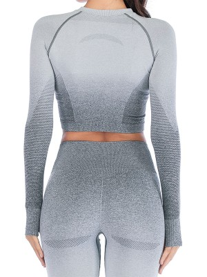 Exquisitely Gray Crew Neck Athletic Top Long Sleeve Form Fitting