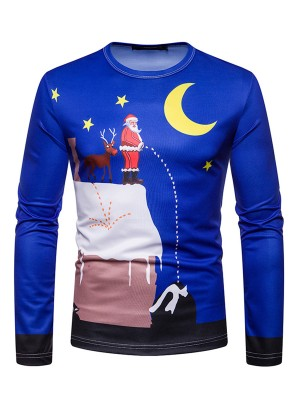 Young Lady Moon Santa Claus Pattern Men Blouse Mens Clothes