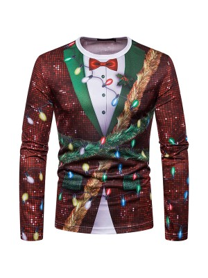 Splendor Long Sleeves Mens Xmas Printing Top Breath