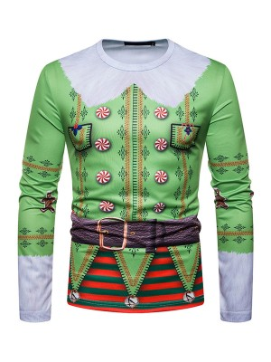 Stretch Round Neck Male Shirt Christmas Pattern Essentials