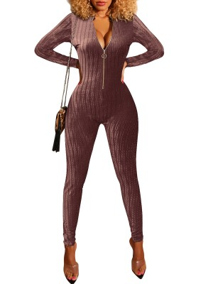 Illusion Wine Red Zipper Long Sleeve Tight Jumpsuit For Walking