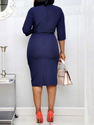 Purplish Blue Half Sleeve Midi Dress Irregular Hem For Sexy Women