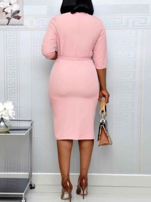 Contouring Pink Midi Dress Floral Print Tie Waist Newest Fashion