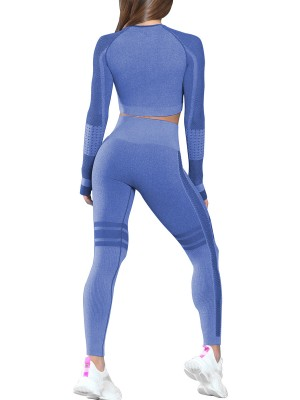 Trendy Royal Blue Full Sleeves Yoga Crop Top Thumbhole Form Fitting