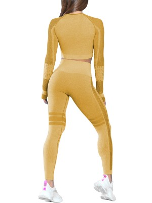 Flawlessly Earthy Yellow Long Sleeve Sports Crop Top Round Neck Online Wholesale