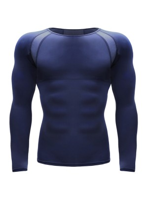 Chic Dark Blue Crew Neck Moisture Wicking Running Top Good Elasticity