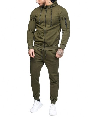 Tailored Dark Green Sports Suit Zipper Ankle Length Workout Apparel