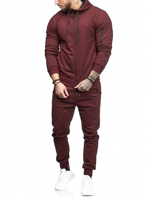 Modern Fit Red Long Sleeve Top Full Length Pants For Men