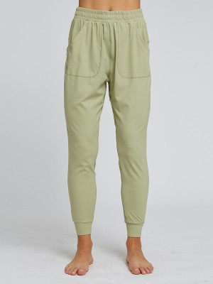 Incredible Light Green Solid Color Running Pants High Rise For Hiking