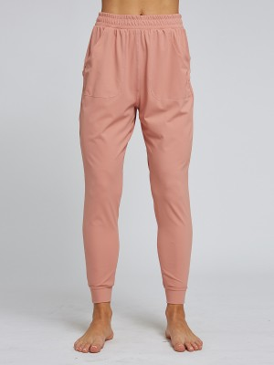 Inspired Light Pink Ankle Length High Waist Sport Pants For Hiking