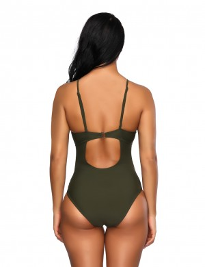 Glamorous Blackish Green Hollow Out Padding One Piece Swimsuit High Leg Cut