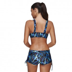 Shop Lovely  SwimwearMulticolored Printing Plus Crop Top Boy Short Bathing Suit