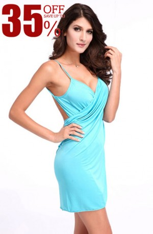 Sexy Ladies Blue Beach Wrap Cover Up Dress Straps Backless