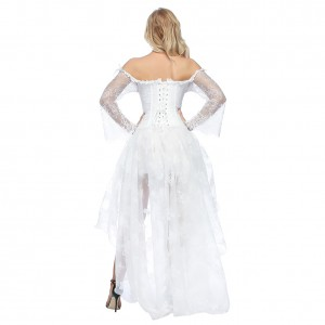 Irregular Hem White Off Shoulder Hasp Corset Skirts