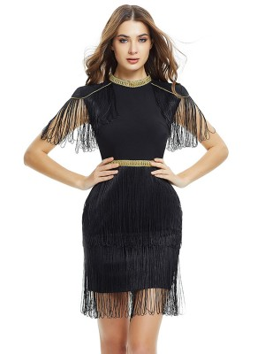 Flirtatious Black Mini Length Bandage Dresses With Fringe