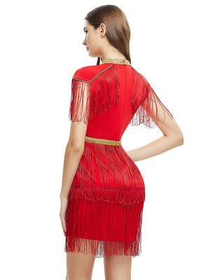 Graceful Red Tassels O-Neck Bandage Dress Zip Closure All-Match