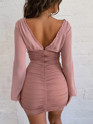 Stunning Pink Bodycon Dress Pleated Open Back Zipper Glamor