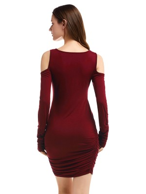 Wine Red Pleated Bodycon Dress Mini Length Natural Women Fashion