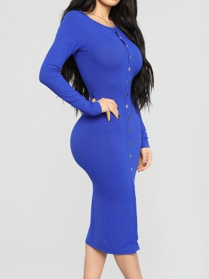 Women Blue Round Neck Bodycon Dress Long-Sleeved Latest Fashion