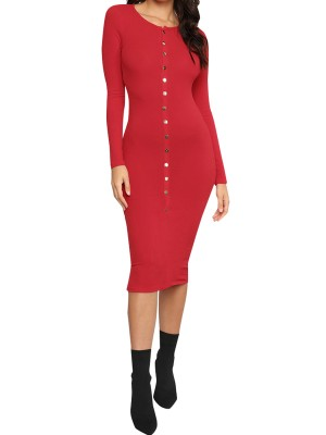 Incredible Red Bodycon Dress Solid Color Round Collar Free Time
