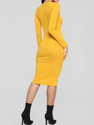 Noble Yellow Long Sleeve Bodycon Dress Button Front Holiday