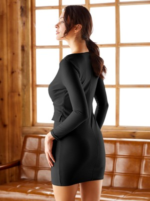 Slinky Black Double-Breasted V Neck Bodycon Dress Breath Material