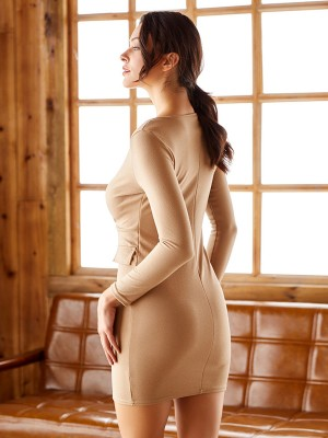 Irresistible Khaki Mini Bodycon Dress Button Long-Sleeved For Sauntering