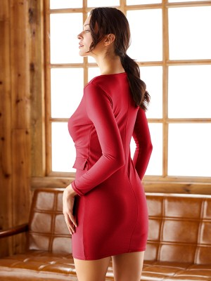 Ultimate Comfort Red Full Sleeves Bodycon Dress Deep V neck For Stunner