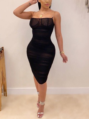 Sleek Black Transparent Strap Bodycon Dress Mesh Natural Outfit