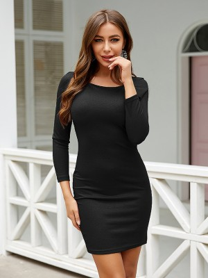 Form-Fitting Black Square Neck Mini Length Bodycon Dress Cheap Online