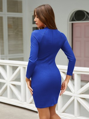 Curve Smoothing Royal Blue Bodycon Dress Long Sleeve Glitter Stunning Style