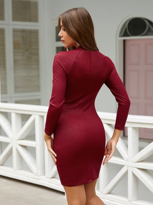 Sheath Red Solid Color Bodycon Dress Full Sleeve Comfort Fabric