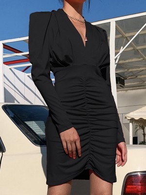 Black Ruched Puff Sleeves Midi Bodycon Dress Fashion Essential