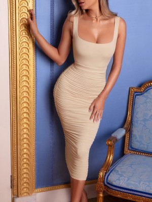Incredible Khaki Wide Strap Bodycon Dress Pleated Backless For Beauty