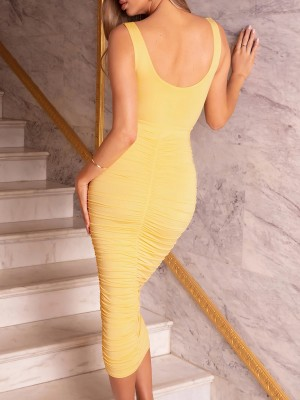 Loose Fitting Yellow Bodycon Dress Maxi Length Solid Color At Great Prices‎