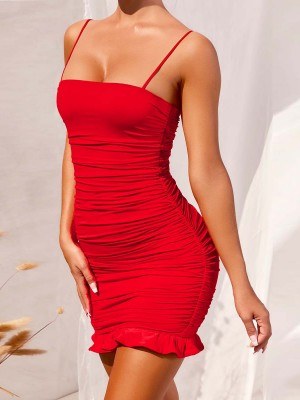 Stretchable Red Sling Square Neck Bodycon Dress Ruched Feminine Grace