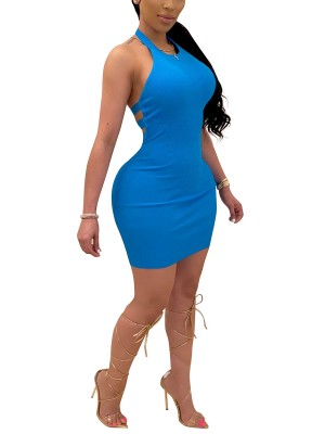 Delicate Blue Back Strap Bodycon Dress Metal Ring High Elasticity