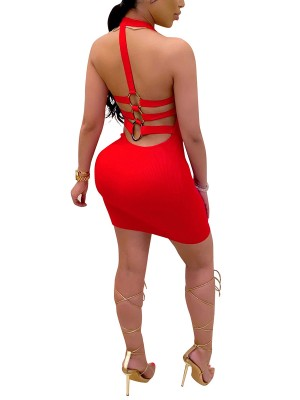 Fairy Red Bodycon Dress Hollow Out Mini Length Feminine Confidence
