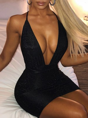 Staple Black Sequin Cross Back Bodycon Dress Ultra Hot