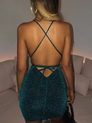 Blue Open Back Cross Mini Sequin Bodycon Dress For Strolling