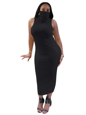 Versatile Black High Neck Bodycon Dress Plain Mask Lightweight
