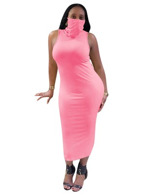 Romance Pink Solid Color Sleeveless Bodycon Dress Snug Fit