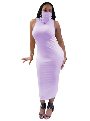 Comfy Purple Bodycon Dress Solid Color Turtleneck High Elasticity