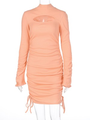 Coral Red Drawstring Ruched Bodycon Dress Full Sleeve Good Elasticity